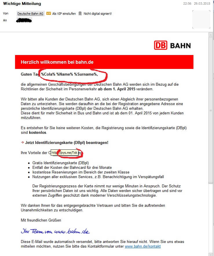 Wichtige Mitteilung Der Deutschen Bahn Db Ist Fakemail Corinna Goering