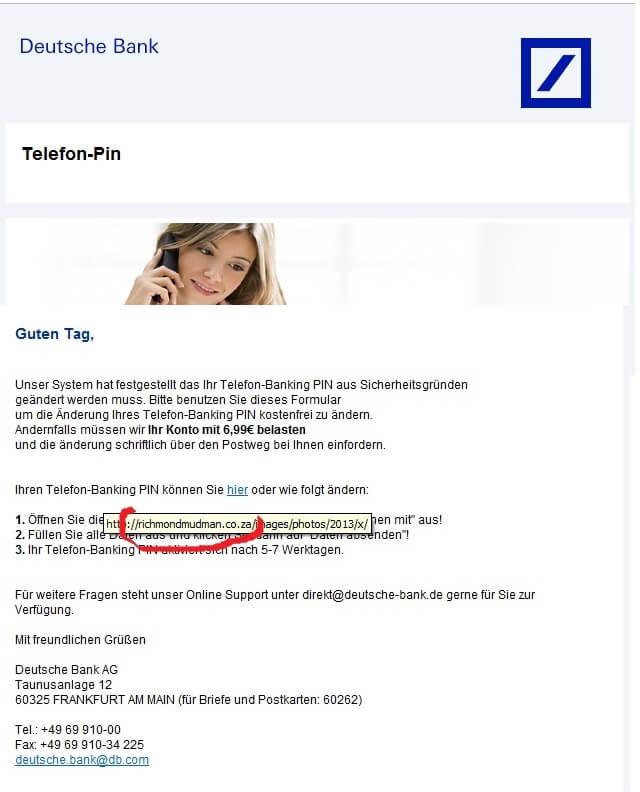 Deutsche Bank Will änderung Der Telefon Banking Pin Corinna Goering