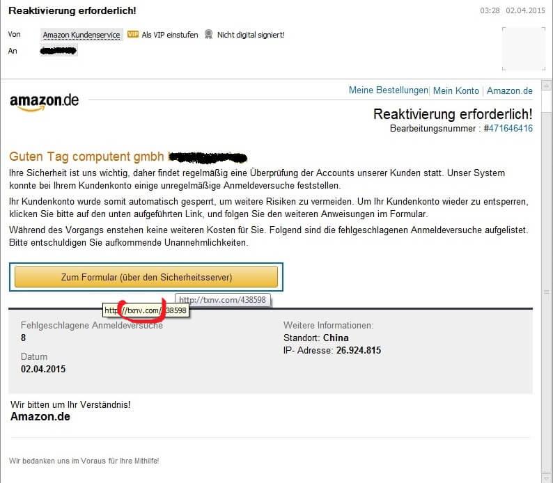 Reaktivierung Erforderlich Mail Von Amazon Besser Löschen